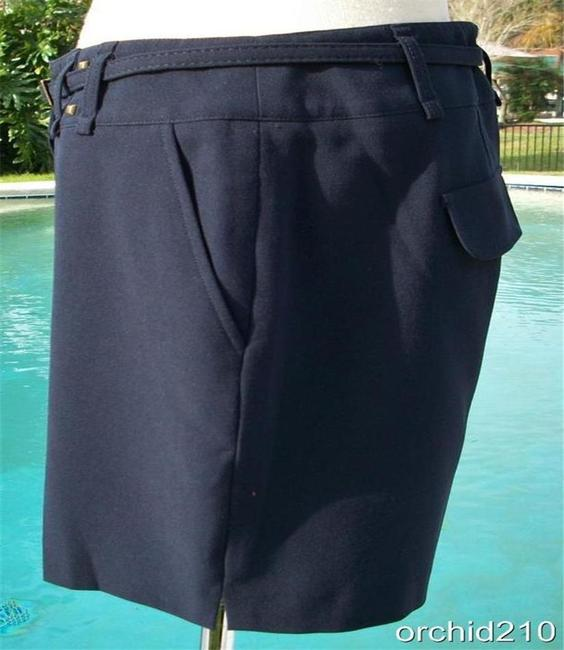 Cache Navy Blue Trouser Removable Belt Pant New Lined Metal Stud 6/8/10 S/M Shorts Size 8 (M, 29, 30) Cache Navy Blue Trouser Removable Belt Pant New Lined Metal Stud 6/8/10 S/M Shorts Size 8 (M, 29, 30) Image 3