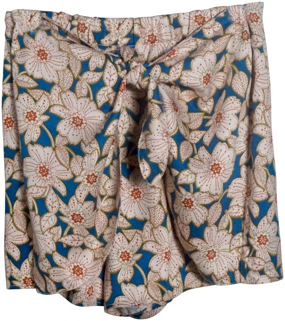Item - Blue & Cream Georgine Floral Tie Waist Shorts Size 10 (M, 31)
