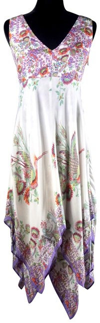 Item - White & Lilac Analise Floral Midi Mid-length Night Out Dress Size 0 (XS)