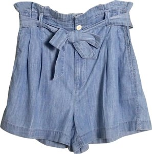 Madewell Chambray Ruffled Paper-bag Dress Shorts Blue
