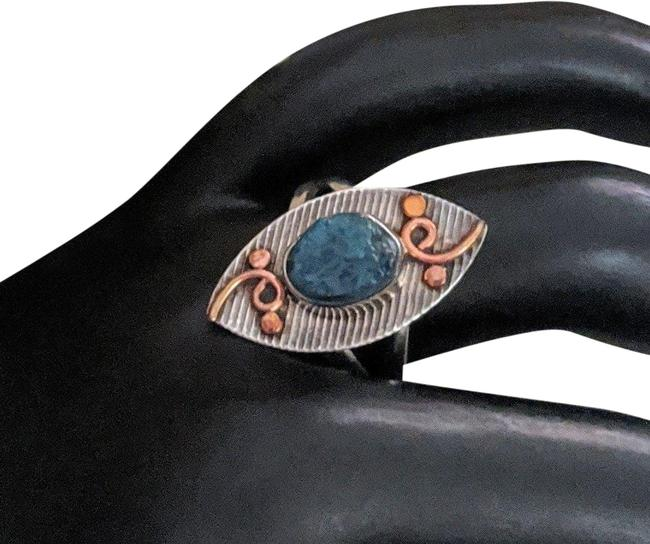 Handmade Blue Sterling Silver Copper Raw Apatite Ring Handmade Blue Sterling Silver Copper Raw Apatite Ring Image 1