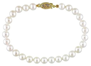 14k Yellow Gold 5.5-6 Mm Akoya Freshwater Cultured Pearl Aaa Bangle Bracelet 7