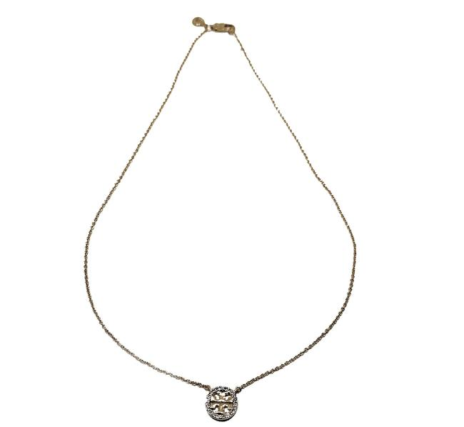 Item - Silver Crystal Pave Circle Logo Pendant Necklace