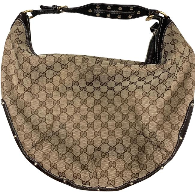 Item - Monogram Studded Beige with Dark Brown Leather Canvas Gold Studs Hobo Bag