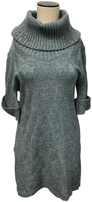 Item - Blue Cowl Neck Variegated Sweater Short Casual Dress Size 8 (M)