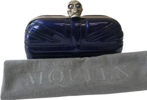 Alexander McQueen Patent Leather Evening Silver Hardware Navy Clutch