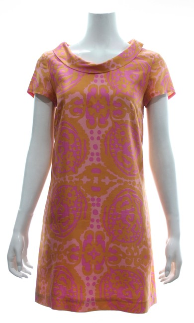 Item - Pink/Orange Sleeved Silk Short Work/Office Dress Size 4 (S)