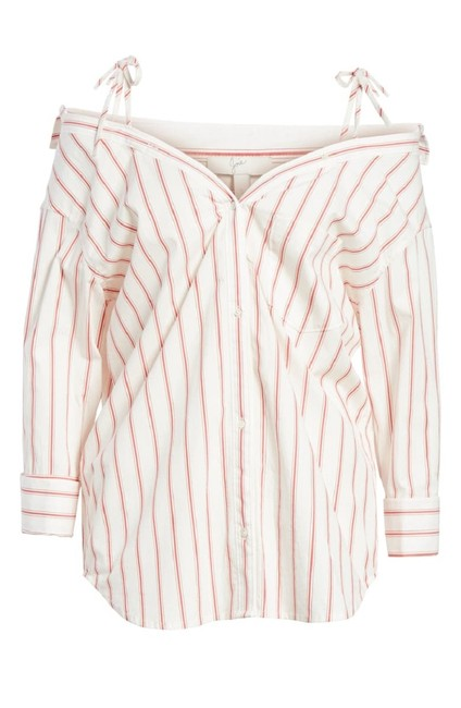 """Item - White and Red """"Alvina"""" Off-the-shoulder Striped Poplin Shirt. Button-down Top Size 4 (S)"""