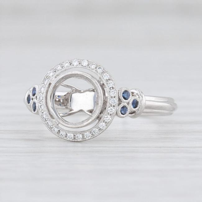 Item - 14k White Gold New Diamond Sapphire Semi Mount Halo Engagement Ring