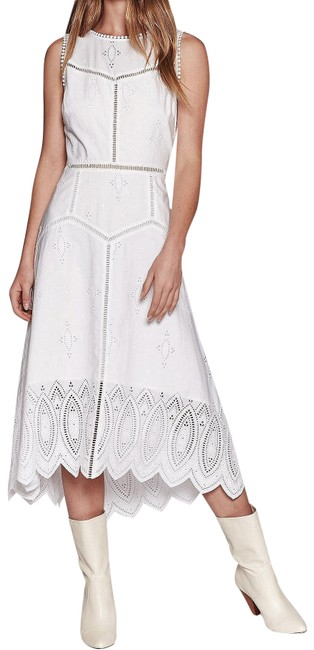 Item - White Halone Eyelet Lace Crochet Hi-lo Waterfall Hem Mid-length Casual Maxi Dress Size 0 (XS)