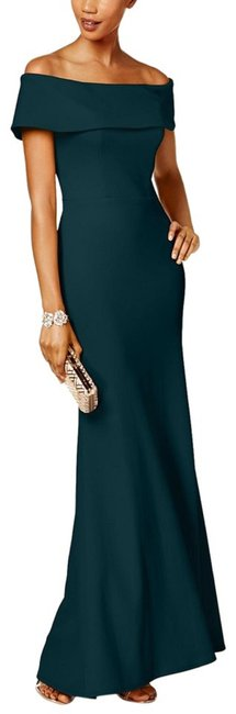 Item - Pine Ruffled-back Off-the-shoulder Gown Long Formal Dress Size 4 (S)