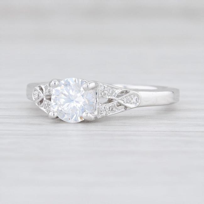 Item - 14k White Gold New Round Semi Mount Size 6.75 Diamonds Engagement Ring