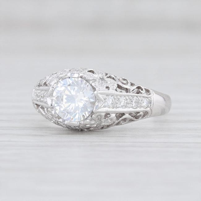 Item - 14k White Gold New Round Semi Mount Floral Size 6.75 Engagement Ring