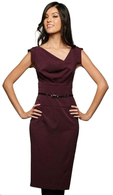 Item - Red Purple Belted Classic Jackie O Midi Mid-length Formal Dress Size 0 (XS)