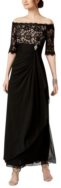Item - Black/Nude Ruched Off-the-shoulder Gown 4p Long Formal Dress Size Petite 4 (S)