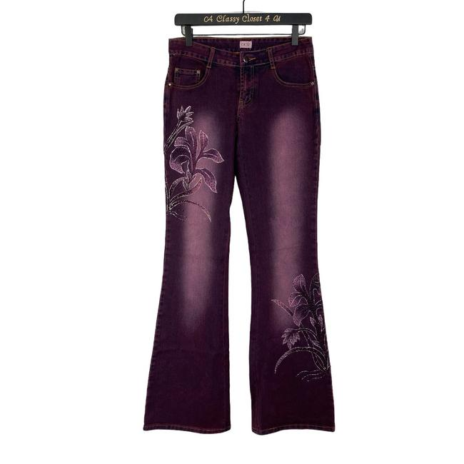 Item - Purple Distressed Floral Beaded Boot Cut Jeans Size 25 (2, XS)