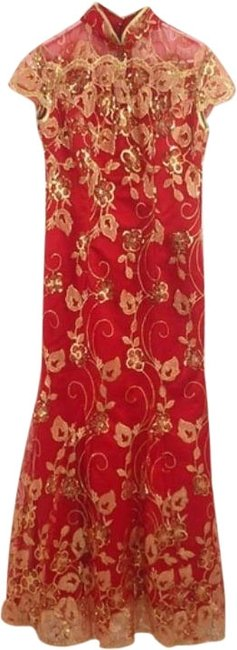 Item - Red with Gold Sequins Asian Style Mermaid Long Formal Dress Size 4 (S)