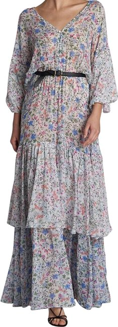Item - White Ground Floral Nikki Long Casual Maxi Dress Size 4 (S)