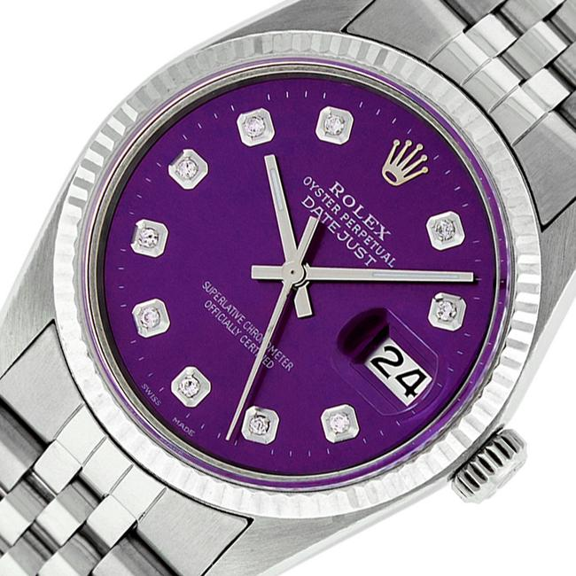 Item - Purple Mens Datejust Ss/ White Gold with Diamond Dial Watch