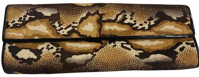 Item - Brown Black and Off White Calf Hair Clutch