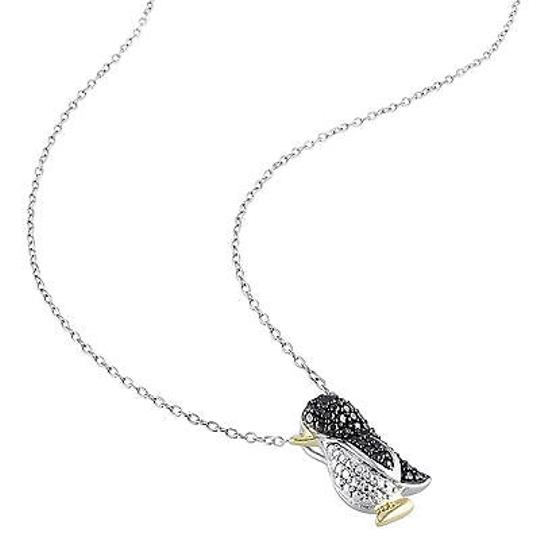 Other Two-tone Sterling Silver Black Diamond Fashion Penguin Pendant Necklace W Chain