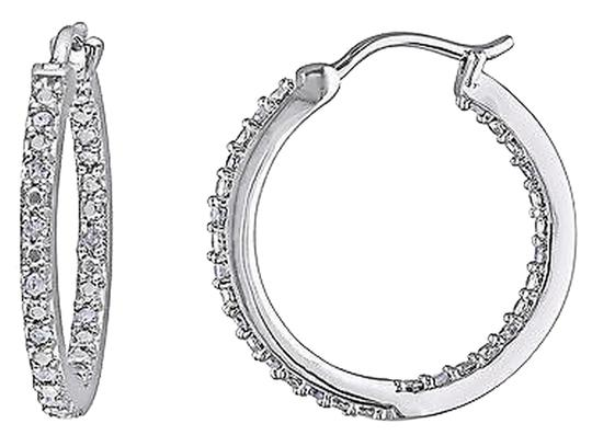 Other Sterling Silver 14 Ct Diamond Tw Hoop Earrings I3