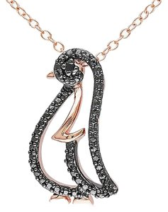 Other Rose Sterling Silver Black Diamond Fashion Penguin Pendant Necklace With Chain