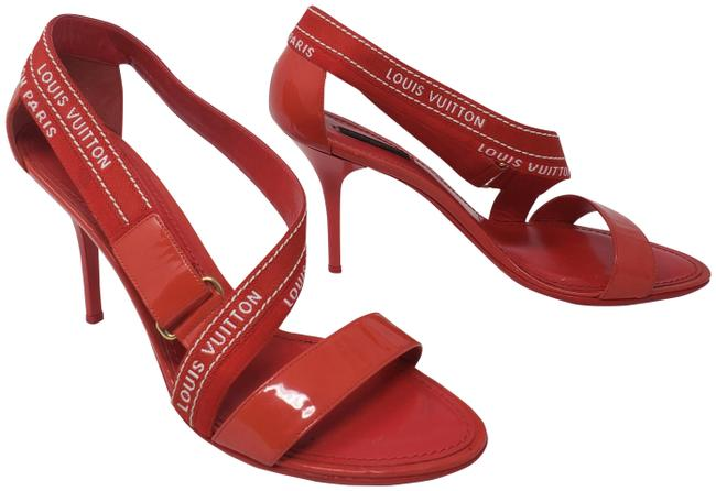 Item - Red White Monogram Printed Patent Leather Sandals Size EU 41 (Approx. US 11) Regular (M, B)