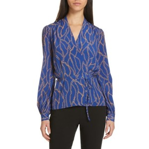 L'AGENCE Silk Career Work Wardrobe Professional Top Blue