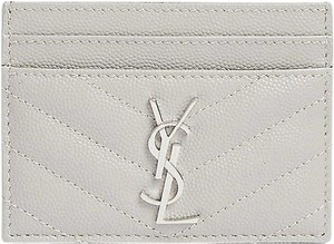 Saint Laurent gray quilted leather card holder