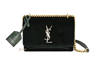 Saint Laurent Monogram Velvet Leather Cross Body Bag