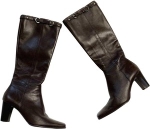 Michelle D Knee High Leather Brown Boots