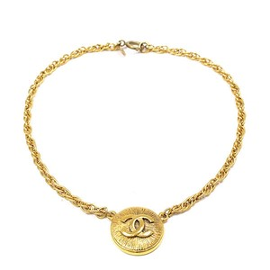 Chanel Chanel Vintage Coco Mark Necklace Gold GP Button Medal Pendant Choker