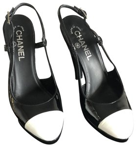 Chanel Black patent with white toe Pumps