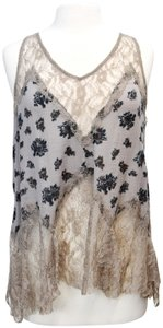 Free People Lace Floral Cotton Top Taupe