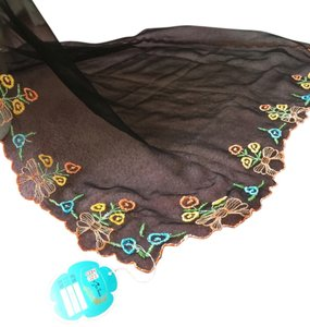 Shanghia, China TAGS---NEW---WITH LONG SHEER BLACK EMBROIDED SILK SCARF (18X46