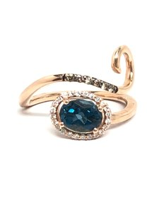LeVian Deep Sea Blue Topaz Chocolate/Vanilla Diamond 14K Ring