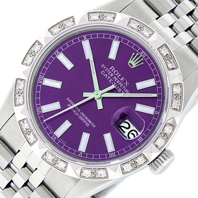 Item - Purple Mens Datejust Ss/18k White Gold with Index Dial Watch