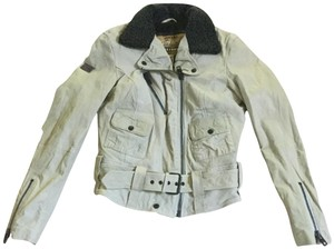 Super Dry Belted Cream Leather Moto Motorcycle Jacket