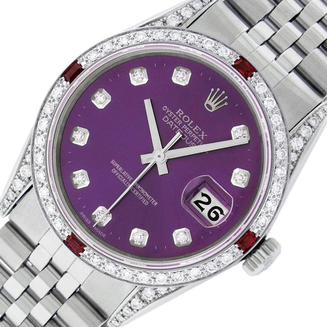 Item - Purple Mens Datejust Ss/18k White Gold with Diamond Dial Watch