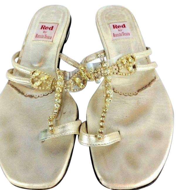 Item - Gold Red By Firefly Rhinestone As-is Sandals Size US 6.5 Regular (M, B)