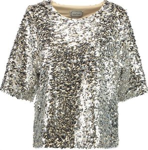 By Malene Birger Sequin Boxy Metallic Embellished Top Silver