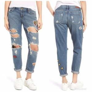 Articles of Society Patch Patchwork Cropped Destroyed Boyfriend Cut Jeans-Distressed