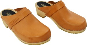 swedish hasbeens Leather Chunky Wooden Tan Mules