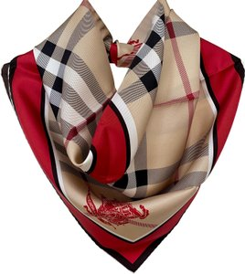 Burberry NEW AUTHENTIC Burberry Horseferry Beige Check Red Silk Scarf plaid