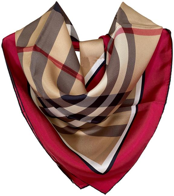 Burberry Horseferry Beige Check Pink Red Silk Plaid Scarf/Wrap Burberry Horseferry Beige Check Pink Red Silk Plaid Scarf/Wrap Image 1