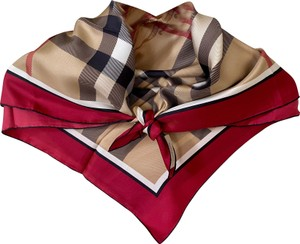 Burberry AUTHENTIC Burberry Horseferry Beige Check pink Red Silk Scarf plaid