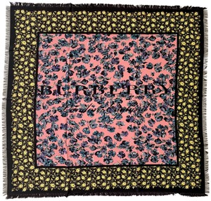 Burberry AUTHENTIC Burberry silk foulard large flower floral shawl scarf
