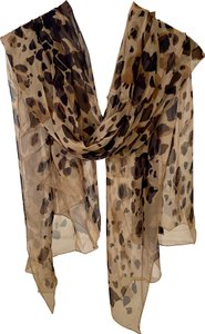 Burberry AUTHENTIC Burberry silk chiffon leopard large scarf shawl