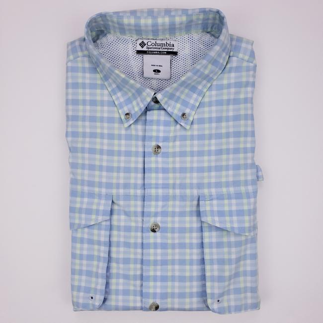 Columbia Sportswear Company Blue Green Check L Pfg Large Checked Mens Size Cotton Blend V Shirt Columbia Sportswear Company Blue Green Check L Pfg Large Checked Mens Size Cotton Blend V Shirt Image 1